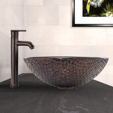 Shield Glass Vessel Sink and Seville Faucet Set
