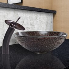 Shield Glass Vessel Sink and Waterfall Faucet Set
