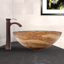 Swirl Glass Vessel Sink and Otis Faucet Set