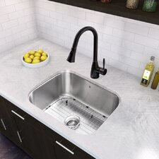 """23"""" x 17.75"""" Undermount 18 Gauge Single Bowl Kitchen Sink and Aylesbury Pull-Down Spray Kitchen Faucet (Set of 4)"""