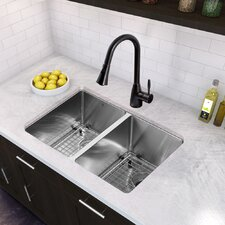 """29"""" x 20"""" Undermount 16 Gauge Double Kitchen Sink and Aylesbury Pull-Down Spray Kitchen Faucet (Set of 4)"""