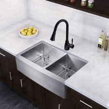 """Farmhouse 36"""" x 22.25"""" 16 Gauge Double Bowl Kitchen Sink and Aylesbury Pull-Down Spray Kitchen Faucet (Set of 4)"""