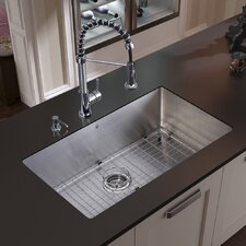 "30"" x 19"" Undermount Kitchen Sink with Faucet, Grid, Strainer and Dispenser"