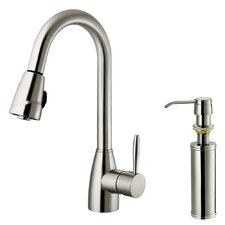 One Handle Single Hole Kitchen Faucet with Soap Dispenser and Pull-Out Spray
