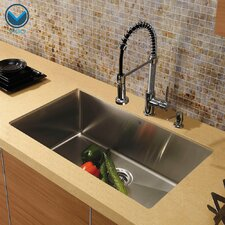 "30"" x 19"" Undermount Single Bowl Kitchen Sink with Faucet"