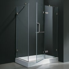 "32"" W x 32"" D x 73.38"" H Pivot Door Frameless Shower Enclosure"