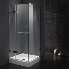 "34.125"" W x 34.125"" D x 73.33"" H Pivot Door Frameless Shower Enclosure"
