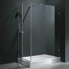"48.125-in. W x 36.125-in. L x 79.25"" H Pivot Door Frameless Shower Enclosure with Left Drain"