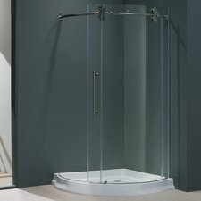 """38"""" W x 38"""" D x 74.63"""" H Sliding Door Frameless Round Clear Shower Enclosure with Left-Sided Door"""
