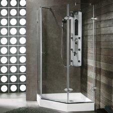 """38.125"""" W x 38.125"""" D x 73"""" H Pivot Door Frameless Clear Shower Enclosure"""