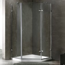 "34.06"" W x 30.46"" D x 73"" H Pivot Door Frameless Clear Shower Enclosure with Base & Knob Handles"