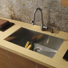 "30.38"" x 19.25"" Undermount Single Bowl Kitchen Sink with Faucet and Soap Dispenser"