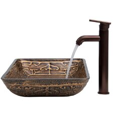 Golden Greek Glass Vessel Sink with Faucet