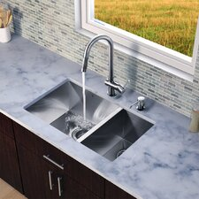 "29"" x 20"" x 10"" Zero Radius Double Bowl Kitchen Sink with Pull-Out Faucet"