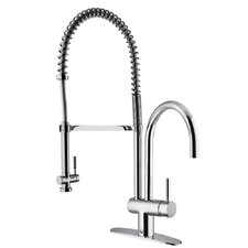 Single Handle Single Hole Bar Faucet with Deck Plate and Pull-Down Spray
