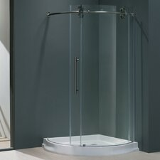 "38"" W x 38"" D x 74.63"" H Sliding Door Frameless Round Clear Shower Enclosure with Left-Sided Door"
