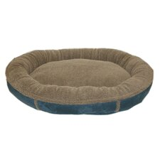 Faux Suede Round Comfy Cup® Dog Bed in Blue