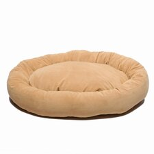 Microfiber Bagel Dog Bed in Caramel