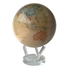 """8.5"""" Globe with Crystal Base in Antiqued Beige"""
