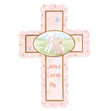 Jesus Loves Me Cross Baby Girl Figurine Hanging Art