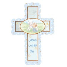 Jesus Loves Me Cross Baby Boy Figurine Hanging Art