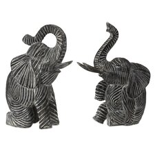 2 Piece Bakari Wood Carved Elephant Figurine Set