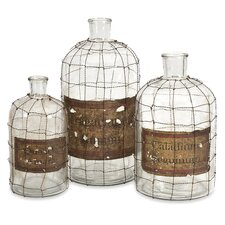 3 Piece Dimora Wire Caged Decorative Bottle Set