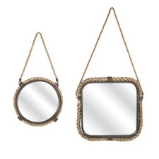Molyneux 2 Piece Jute & Metal Wall Mirror Set