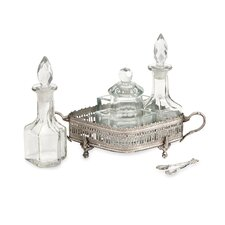 7 Piece Baker Brass and Glass Table Set