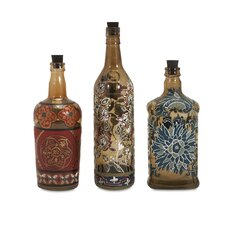 Reclaimed Hand-Painted Decorative 3 Piece Bottle Set