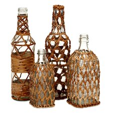 4 Piece Manitoba Rattan Glass Bottles Set