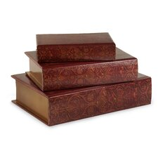 3 Piece Nesting Wooden Book Box Set in Burgundy with A Hint of Gold Ink Accents