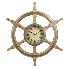"Oversized 26"" Ship Wheel Wall Clock"