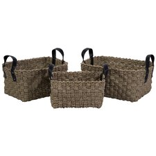 3 Piece Natural Sea Grass Basket Set with Faux Leather Handles