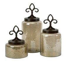 3 Piece Fleur De Lis Lidded Decorative Jar Set