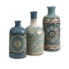 3 Piece Kabir Hand Painted Decorative Bottle Set