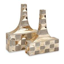 Toucey 2 Piece Golden Vase Set