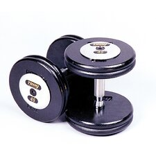 115 lbs Pro-Style Cast Dumbbells in Black (Set of 2)