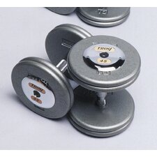 145 lbs Pro-Style Cast Dumbbells in Gray (Set of 2)