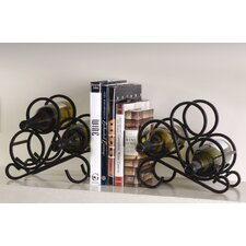 Scroll Rack Bookends (Pair) 6 Bottle Tabletop Wine Rack