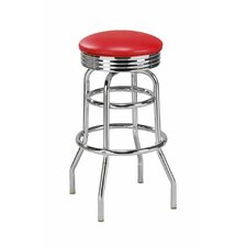 Double Ring Backless Retro Swivel Bar Stool