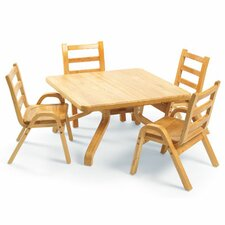 "NaturalWood 12"" Square Toddler Table And Chair Set"