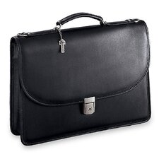 Platinum Single Gusset Leather Briefcase