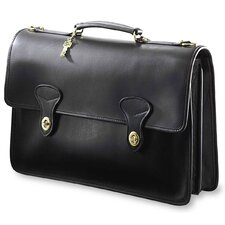 University Double Gusset 2 Turn Leather Briefcase