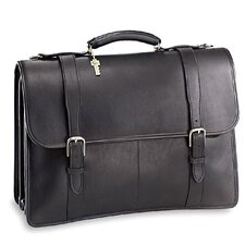 University sized Triple Gusset Leather Briefcase