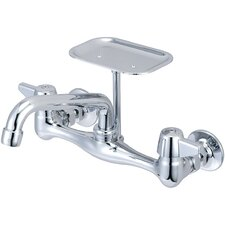 Wall Mount Faucet with Centers and Soap Dish