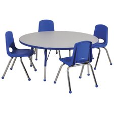 "5 Piece 48"" Round Classroom Table and Chair Set"