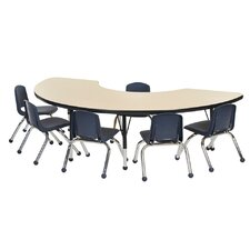 "7 Piece 72"" x 36"" Kidney Classroom Table and Chair Set"