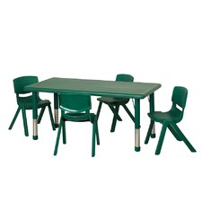 """5 Piece 48"""" Rectangular Classroom Table and Chair Set"""