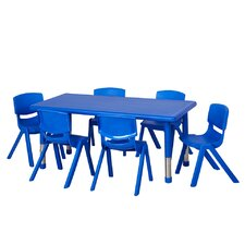 "7 Piece 48"" x 24"" Rectangular Classroom Table and Chair Set"